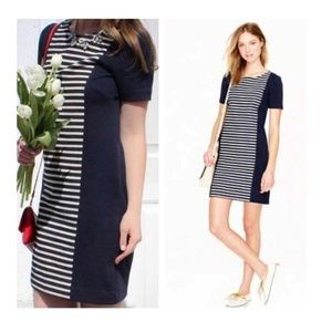 J. Crew Navy blue striped Shift dress sheath mini